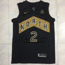 Men's Toronto Raptors 2 Kawhi Leonard Basketball Jersey Black Gold New