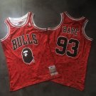 Men's BAPE Joint Bulls #93 Basketball Jersey Red Fine Embroidery