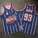 Men's BAPE Joint Rockets #93 Basketball Jersey Purple Fine Embroidery