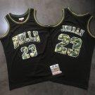 Men's Bulls 23 Michael Jordan Basketball Jersey Black Camo Fine Embroidery