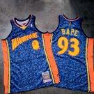 Men's BAPE Joint Warriors #93 Basketball Jersey Blue Fine Embroidery