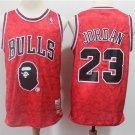 Men's BAPE Joint Bulls #23 Michael Jordan Basketball Jersey Red 2019