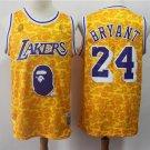 Men's BAPE Joint Lakers #24 Kobe Bryant Basketball Jersey Yellow 2019