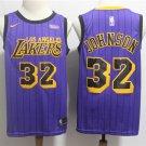 Men's Lakers 32# Magic Johnson Basketball Jersey Purple Stripe New