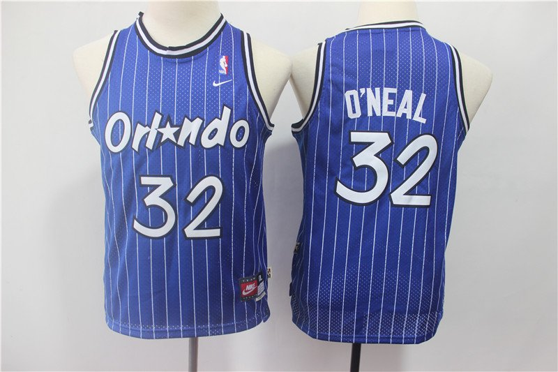 Youth Orlando Magic #32 Shaquille O'Neal Jersey Blue Throwback