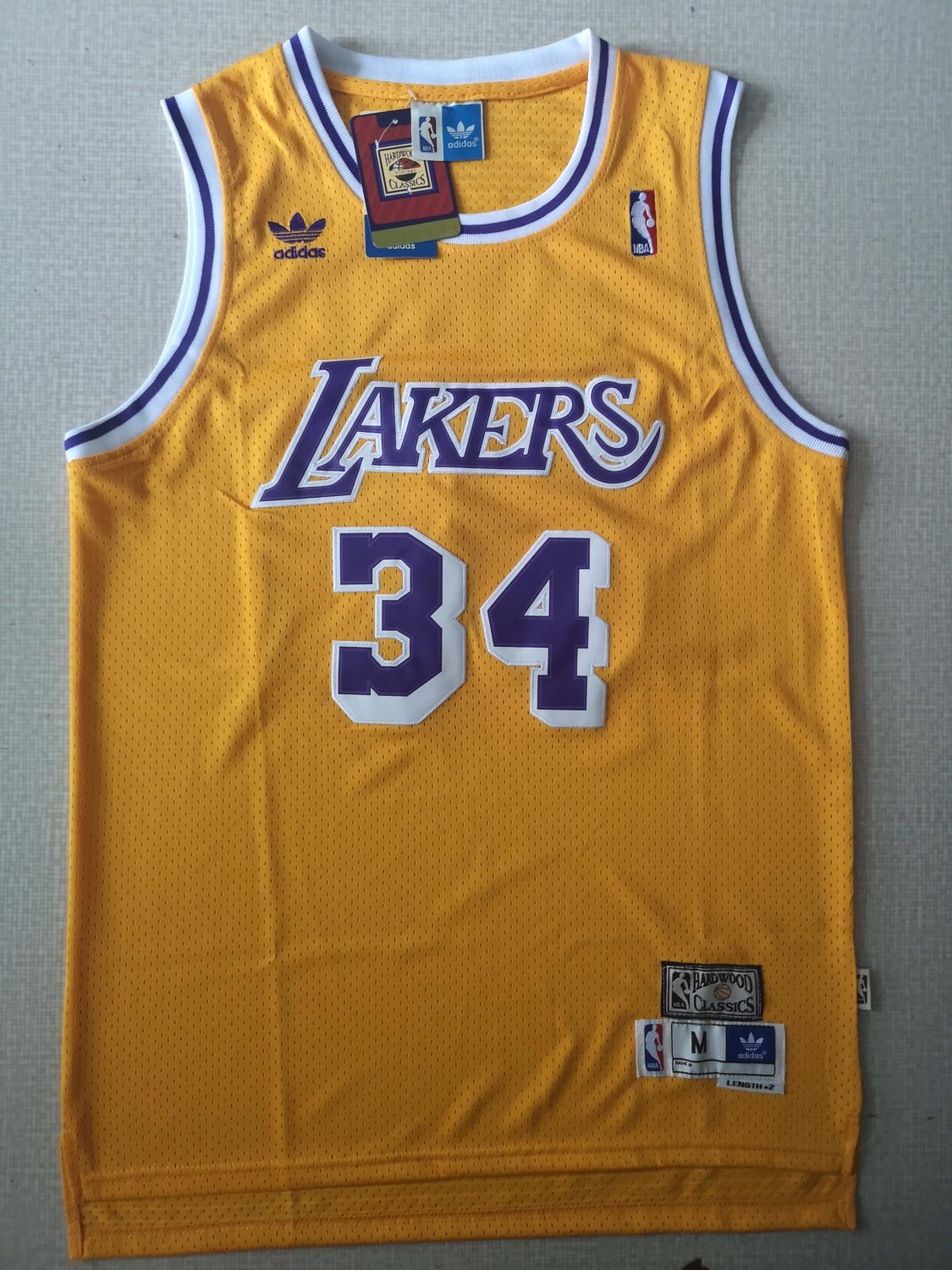 Men's Lakers 34# Shaquille O'Neal Jersey Yellow Gold Throwback