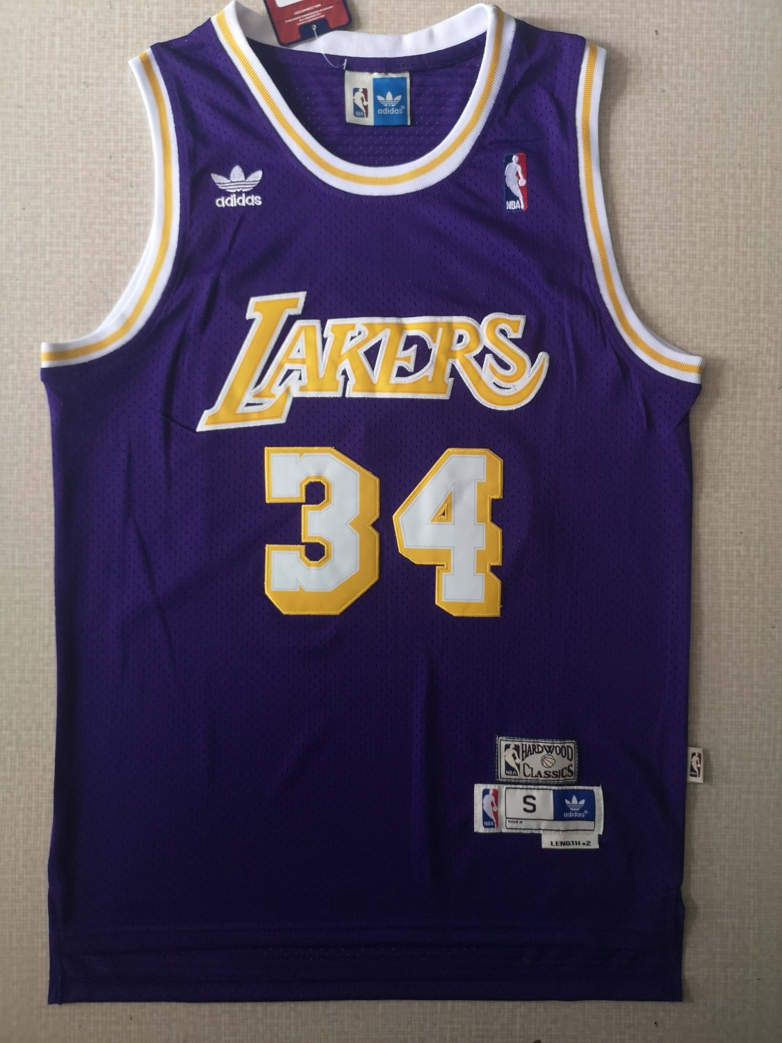 Men's Lakers 34# Shaquille O'Neal Basketball Jersey Purple Throwback
