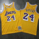 Mens Mitchell & Ness Lakers 24 # Kobe Bryant 60th Anniversary Mesh Yellow Jersey Embroidery
