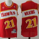 Mens Dominique Wilkins #21 Atlanta Hawks Red Basketball Jersey
