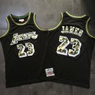 Men's Los Angeles Lakers 23# LeBron James Basketball Jersey Black camouflage Fine Embroidery
