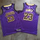 New Los Angeles Lakers 23# LeBron James Purple Basketball Jersey Fine Embroidery