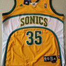 Men's Seattle Supersonics #35 Kevin Durant Yellow Basketball Jersey