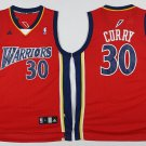 Men's Warriors #30 Stephen Curry Basketball Jersey Red Throwback