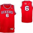 Men's 76ers #6 Julius Erving Nickname Dr. J Red Basketball Jersey