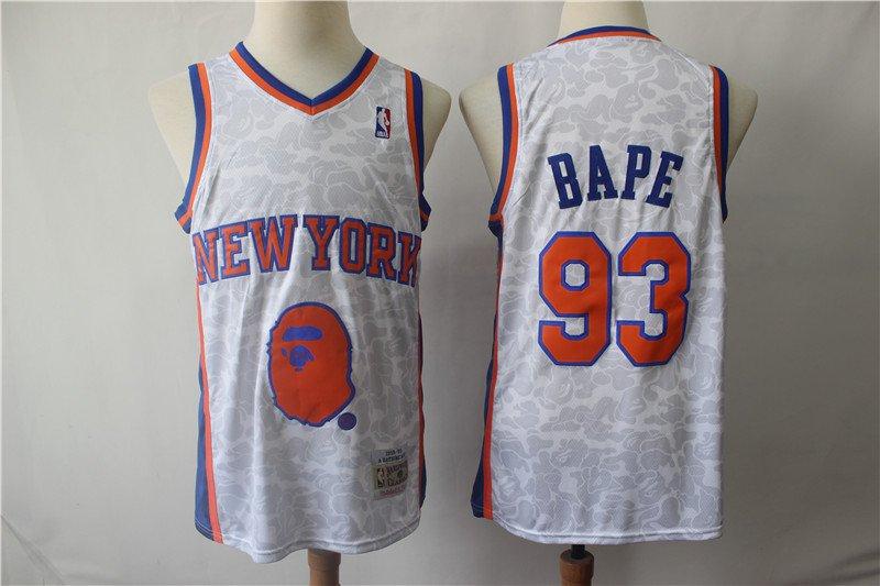 Men's BAPE Joint New York Knicks 93 Retro Basketball Jersey Gray 2019