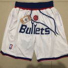 Men's Baltimore Bullets Nike JUST DON Basketball Shorts White Fine Embroidery