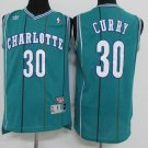 Men's Charlotte Hornets #30 Stephen Curry Basketball Throwback Jersey Teal
