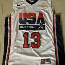Men's USA Team #13 Chris Mullin Basketball Jersey White