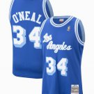 Men's Lakers #34 Shaquille O'Neal Basketball Jersey Royal Blue Throwback