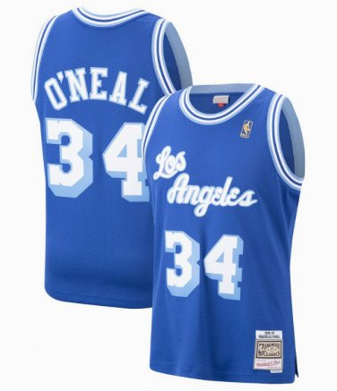 half off 992a9 c16f9 Men's Lakers #34 Shaquille O'Neal Basketball Jersey Royal ...