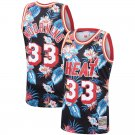 Men's Heat Mitchell & Ness Floral Fashion #33 Alonzo Mourning Jersey Black