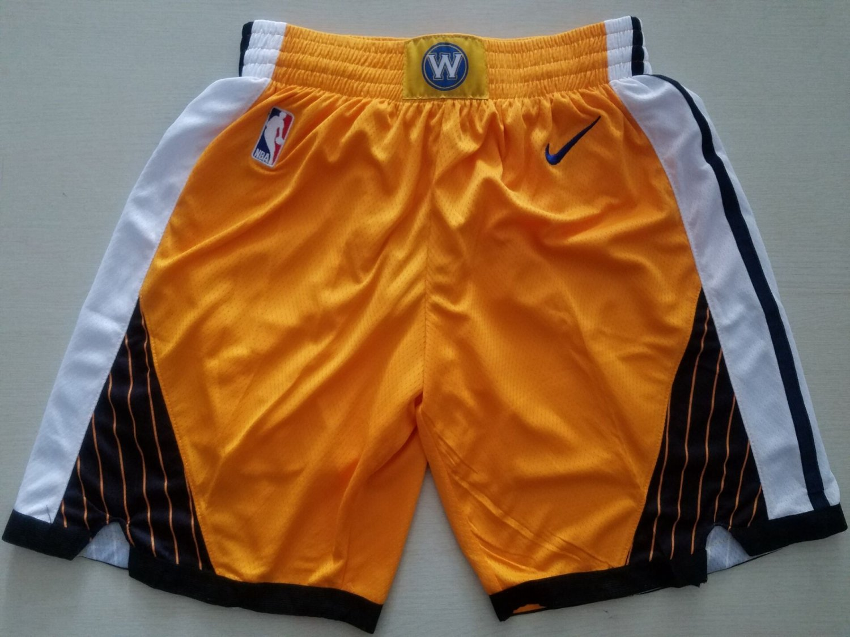 Retro Golden State Warriors Bonus Edition Pants Yellow Stitched New