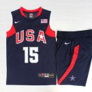 Men's USA Dream Team #15 Carmelo Anthony Basketball Suit Jersey Navy Blue