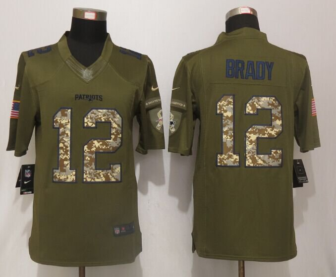 100% authentic 41495 f31db Men's Patriots 12# Tom Brady Salute to Service Olive Game Jersey