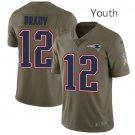 Youth Patriots 12# Tom Brady Salute to Service Olive Limited Jersey