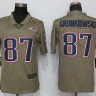 Men's Patriots 87# Rob Gronkowski Salute To Service Jersey Olive
