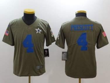 online store 85891 ad4e8 Youth Dallas Cowboys #4 Dak Prescott Salute To Service ...