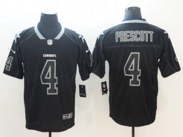 Men's Dallas Cowboys #4 Dak Prescott Lights Out Black Shadow Jersey