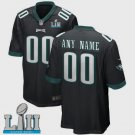 Any Size Philadelphia Eagles Custom Super Bowl LII Game Jersey Black