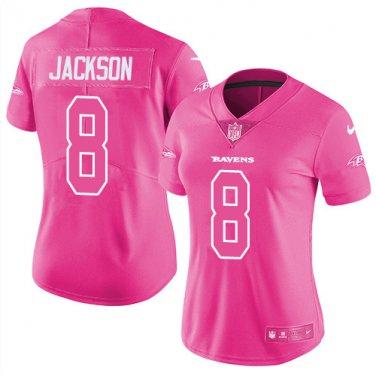 new product f6e36 40379 Women's Baltimore Ravens #8 Lamar Jackson Limited Jersey Pink