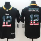Mens Green Bay Packers #12 Aaron Rodgers USA Flag Jersey Black