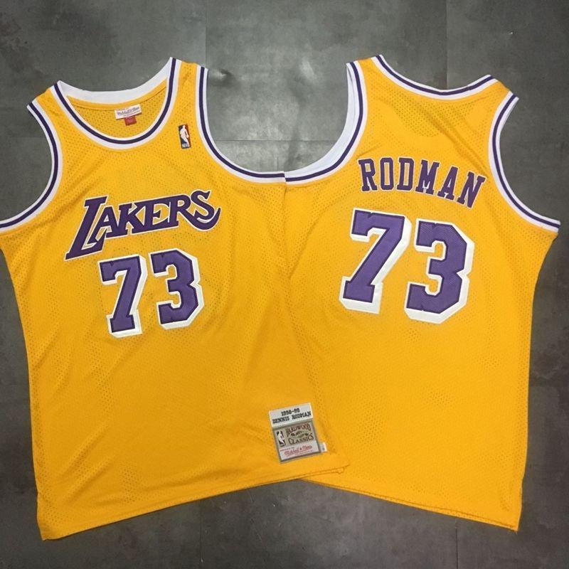 Men's Lakers #73 Dennis Rodman Jersey Yellow Throwback Fine ...