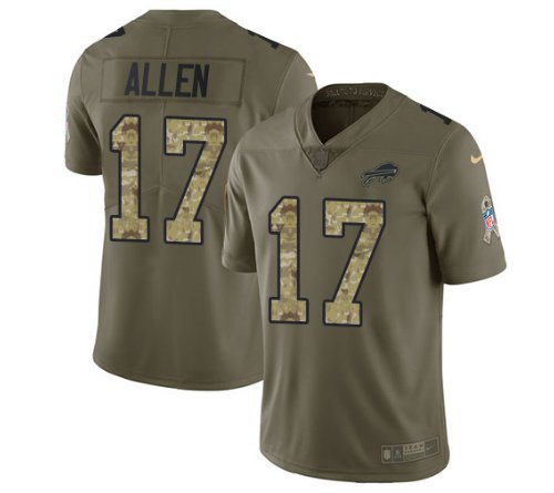 Any Size Buffalo Bills 17# Josh Allen Salute To Service Jersey Olive Camo