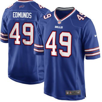 Any Size Buffalo Bills 49# Tremaine Edmunds Game Football Jersey Royal Blue