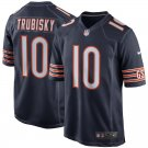 Any Size Chicago Bears 10# Mitchell Trubisky Game Football Jersey Navy