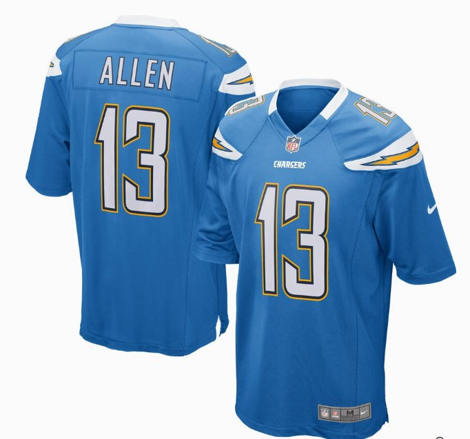 Any Size Los Angeles Chargers 13# Keenan Allen Game Jersey Powder Blue