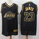 Men's Lakers #23 LeBron James Collection Limited Edition Jersey Black Gold