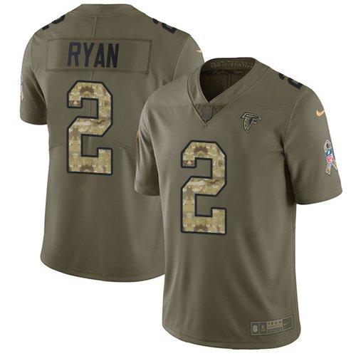Any Size Atlanta Falcons #2 Matt Ryan Salute To Service Jersey Olive