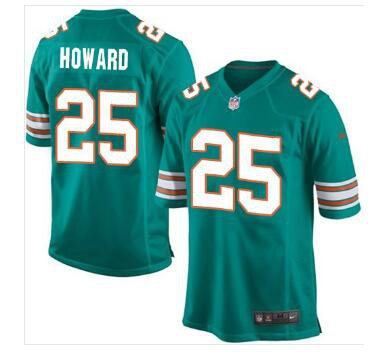 cheap for discount b01c5 3f6a1 Mens Miami Dolphins #25 Xavien Howard Game Throwback Jersey Aqua