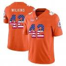 Any Size Clemson Tigers 42 Christian Wilkins USA Flag Football Jersey Orange