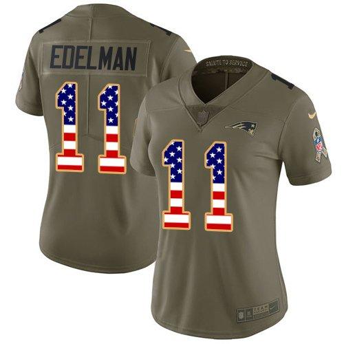 Womens Patriots #11 Julian Edelman Salute To Service USA Flag Jersey Olive