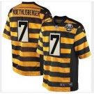 Mens Steelers 7# Ben Roethlisberger Throwback Football Jersey Yellow Black