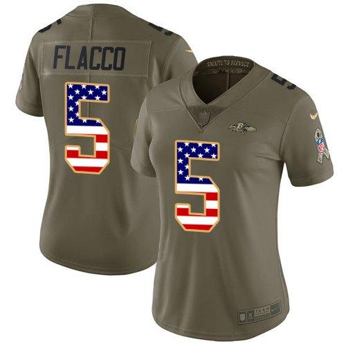Womens Ravens #5 Joe Flacco Salute To Service USA Flag Jersey Olive