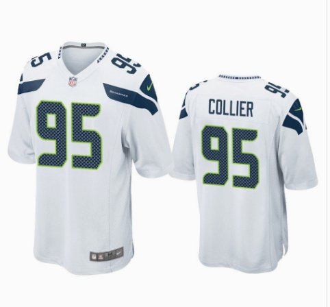 Any Size Seattle Seahawks #95 L.J. Collier Game Football Jersey White