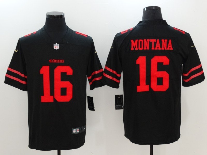 newest 22b71 4a50f Men's 49ers #16 Joe Montana Limited Football Player Jersey Black