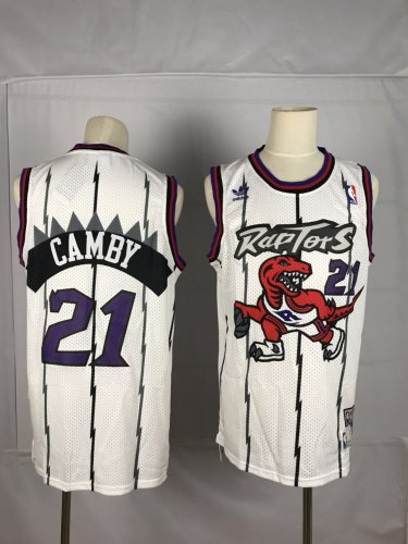 new styles dd7a7 e2240 Men's Raptors #21 Marcus Camby Basketball Throwback Jersey White